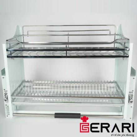 Giá bát đĩa di động nâng hạ, chất liệu Inox 304 bóng mờ cao cấp